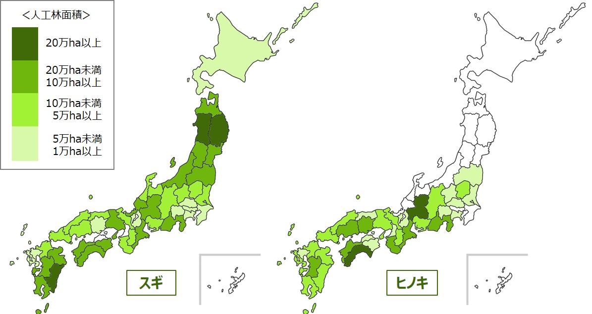 スギ・ヒノキ全国分布